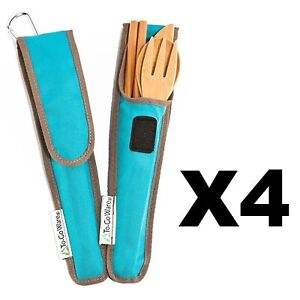 ChicoBag ToGoWare RePEaT Utensil Set Bamboo Flatware wAgave Blue Pouch (4-Pack)