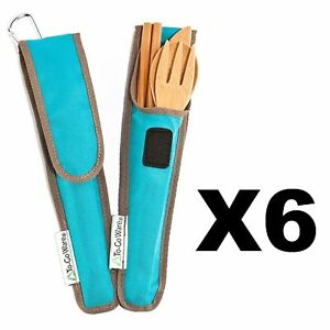 ChicoBag ToGoWare RePEaT Utensil Set Bamboo Flatware wAgave Blue Pouch (6-Pack)