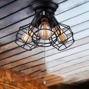 Wire Cage Ceiling Lights 3-light Pull String Flush Mount Ceiling Foyer Porch