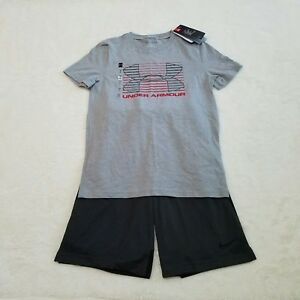 New Nike Under Armour Youth Boys Medium Outfit Gray T Shirt Basketball Shorts