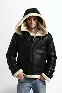 Men's Aviator B3 Bomber Military Shearling Black Leather Jacket with Hoodie