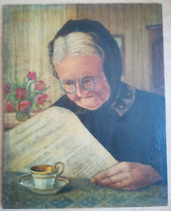 VINTAGE OIL ON HARD BOARD PAINTING OLD LADY NEWSPAPER & COFFEE SIGNED: W. FRANKE