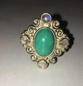 SAJEN STERLING SILVER TURQUOISE & MOONSTONE RING - SIZE 9 VINTAGE