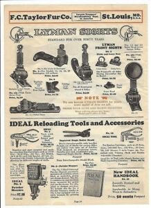 1929 Taylor Fur Co 2-sided ad LYMAN sights IDEAL reloading tools + Marlin Ithaca