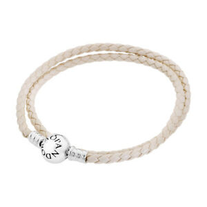 Pandora Women's 15In Bracelet White Braided Leather Jewelry 590745Ciw-D2