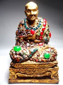 Antique  Phra Somdej WatRakang Statue LP Thai Amulet Buddha wealth Gem Decorate