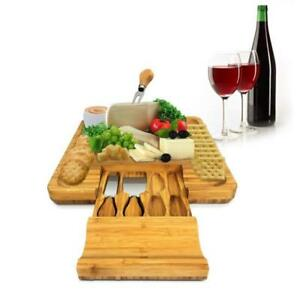 NutriChef PKCZBD10 Bamboo Cheese Board amp; Cutlery Set with Drawer Brown