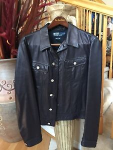 POLO RALPH LAUREN Men Vintage Navy Blue Leather Jacket Size L Made in Italy