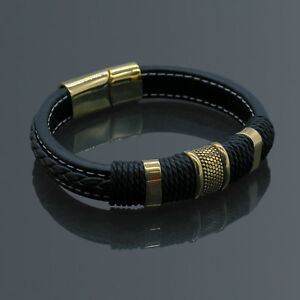 Men#x27;s Stainless Steel Leather Bracelet Magnetic Gold Clasp Bangle Cuff Black