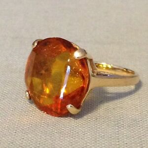Vtg 14K Yellow Gold Large Faceted Baltic Amber Cocktail Ring 3.2 Grams Size 4