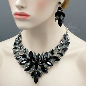 Gorgeous Rhodium Plated Black Crystal Necklace Earrings Jewelry Set 09124 Prom