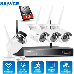 SANNCE 4CH 1080P NVR Wireless CCTV Security IP Camera System IR Motion Detection