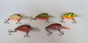 Lot of 5 Rapala Wiggle Wart Fishing Lures - Excellent Condition