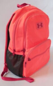 UNDER ARMOUR Youth Kids Neon Orange Pink Back Pack Book Bag Backpack with Logo