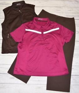 Womens Medium 8-10 NIKE GOLF FIT DRY 3 Pc Outfit Polo Shirt Zip Vest Capri Pants