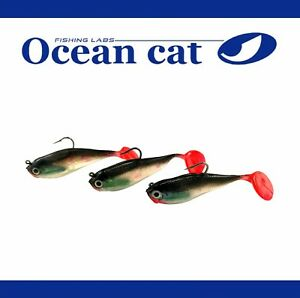 Lot 3pcs Ocean Cat Soft Lead Head  Fish Fishing Baits Crankbait Fishing  Lures