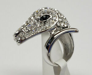 SNAKE HEAD SILVER RING SPARKLING CRYSTAL FASHIONgt; Womens Mens SIZE 7 gt;NEWlt;