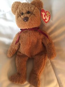 TY Retired Beanie Baby Curly Bear. Rare with multiple factory errors.