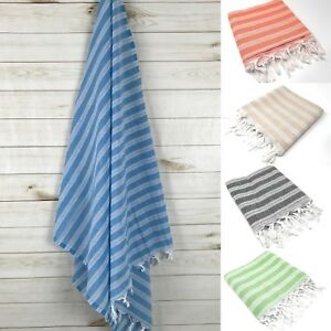 Striped Peshtemal 100% Turkish Cotton Authentic Hammam Bath Beach Yoga Towel