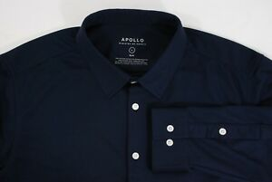 Ministry Supply Apollo Dress Shirt Navy Blue Dry Fit Non-Iron PCMs L Slim NASA