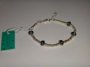 MIA FIORE Women's 925 Sterling Silver 2-Tone Bracelet Gray Crystal MADE in ITALY