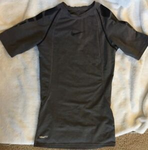 Nike Pro Fit Dry Athletic Kids Boys Shirt Gray Size L (14-16) Pre-owned