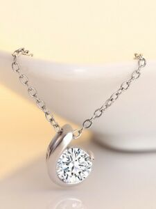 5.00Ct Single Solitaire Brilliant Round Diamond Pendant Necklace 18KT White Gold