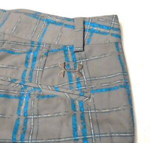 UNDER ARMOUR Golf Gray Plaid Stretch Performance Shorts Mens Size 34 NWOT Pro 3