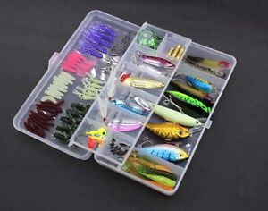 100Pcs Fishing Lure Set Kit Spinnerbait Hooks Bass Fishing Lures Bait Tackle Box