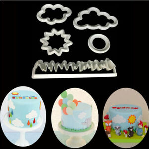 5pcs DIY Grass/Sun/Cloud Plastic Cake Cutter Cookies Sugarcraft Embossed Mould