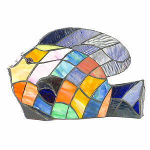 Colorful Tropical Fish Night Light Stained Glass Accent Table Lamp Tiffany Style