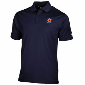 Under Armour Auburn Tigers Navy Blue Solid Performance Polo - College