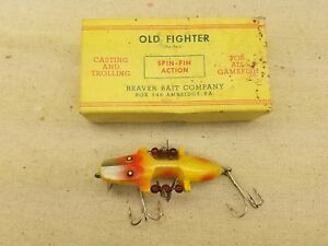 Vintage Beaver Bait Company Old Fighter Spin-Fin Action Lure