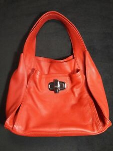 B.Makowsky Large Soft Red Genuine Leather Shoulder Satchel Handbag Purse