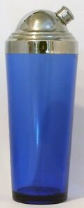 VINTAGE COBALT GLASS COCKTAIL SHAKER WITH HIGH-DOMED CHROME SIDE-POUR LID
