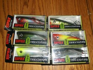 RAPALA X-RAP POP 07's----LOT of 6 DIFFERENT COLORED FISHING LURES-XRP07