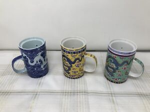 Set of Three Ceramic Tea Cups with Infuser for Loose Tea Leaves or Tea Bags
