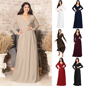 Womens Long Sleeve Empire Cocktail Elegant Formal Evening Versatile Maxi Dress