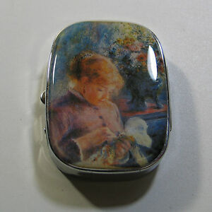 "Vintage ACME Studio AUGUSTE RENOIR ""Girl Sewingquot; Sewing Kit Pill Box NEW $19.00"