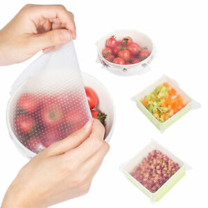 Stretch Reusable Silicone Bowl Food Storage Wraps Cover Seal Fresh Lids Clear
