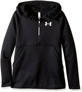 Under Armour Girls Fleece Pullover 12 Zip Hoodie Size YXS Youth 1281111-001 Blk
