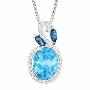 3 12 ct Natural Multi-Blue & White Topaz Pendant in Sterling Silver