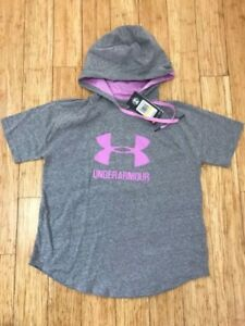 NWT $45 Under Armour Womens Sportstyle Hooded Shirt Short Sleeve Top $19.95