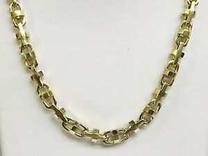 14k Solid Yellow Gold Anchor Mariner Bullet Link chain necklace 7 MM 110 grm 26