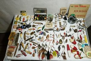 Huge lot Vintage Fishing Lures Reels Bobbers Spinners Pflueger Creek NR!
