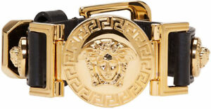 VERSACE MEDUSA SIGNATURE BRACELET IN LEATHER & GOLD - BRAND NEW IN BOX