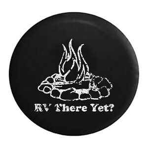 Distressed - Spare Tire Cover RV There Yet? Campfire Camping Trailer
