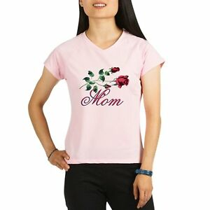 Royal Lion Womens Sports T-Shirt Mom with Roses for Mothers Day - Pink 3X