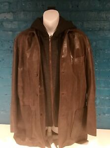 Epsilon leather Jacket Men's Sz Med Removable Sweater Hoodie Distressed Look!