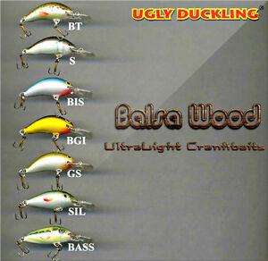 Ugly Duckling ultra light fishing lures balsa wood high quality NEW in BOX